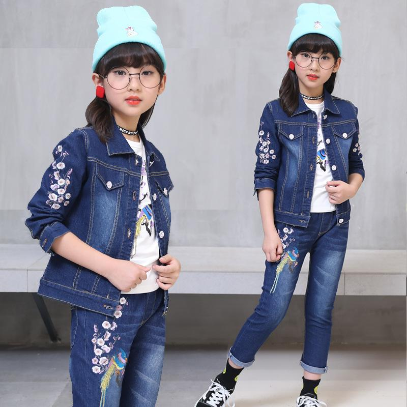 4c174d04f 2019 Baby Girl Clothes 2018 Autumn Girls Peacock Embroidery Cowboy ...