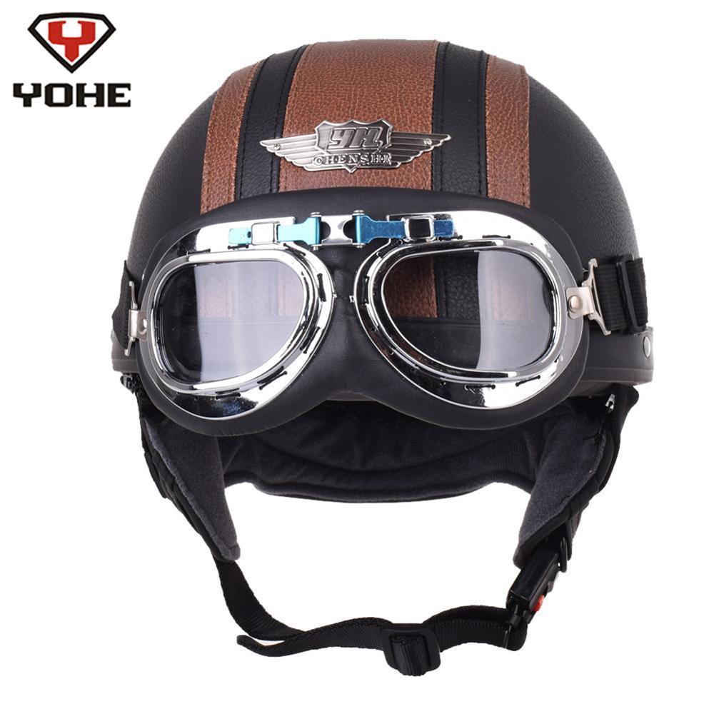 Acheter Yohe Retro Cuir Pilote Moto Casque Aviateur Demi Casques