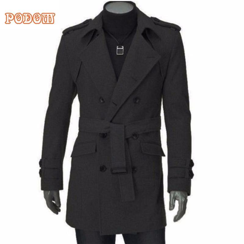 282880c387 2017 Winter Warm Men's Faux Wool Trench Jackets Business Casual Slim Fit Double  Breasted Belted Long Coat Windbreaker Outwear
