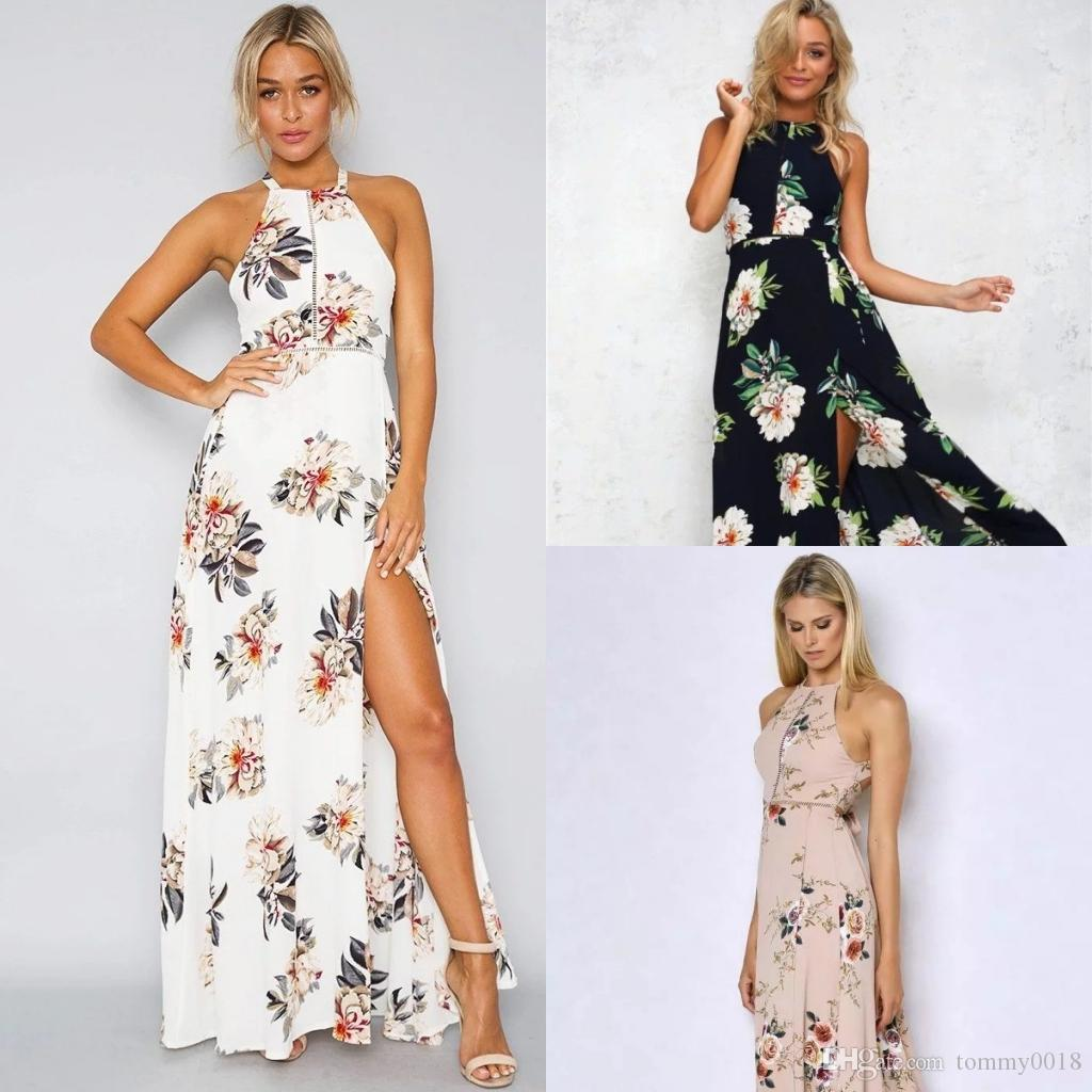 8bd9244cef896 2018 new fashion Dress Womens Holiday Sleeveless Ladies Maxi Long Summer  Print Beach Dress Size 6-14 Swimwear for women