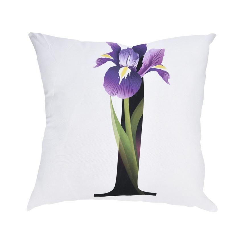 Flor de alta Qualidade Alfabeto Impressão Fronha de Poliéster Para O Sofá Do Carro Capa de Almofada Casa Decorativa 45 * 45 cm
