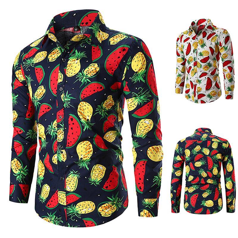 d54290fd1990 2018 Nuevos Hombres Camisa Estampada de Frutas Casual Piña Sandía Slim Fit  Camisa de manga larga Primavera Otoño Camisas Para Hombre 2 colores