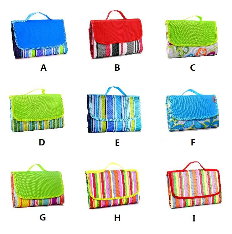 Oxford cloth Color stripe picnic mat can be mentioned Colour - sided beach water - proof mat Camping out on a camping trip T4H0036