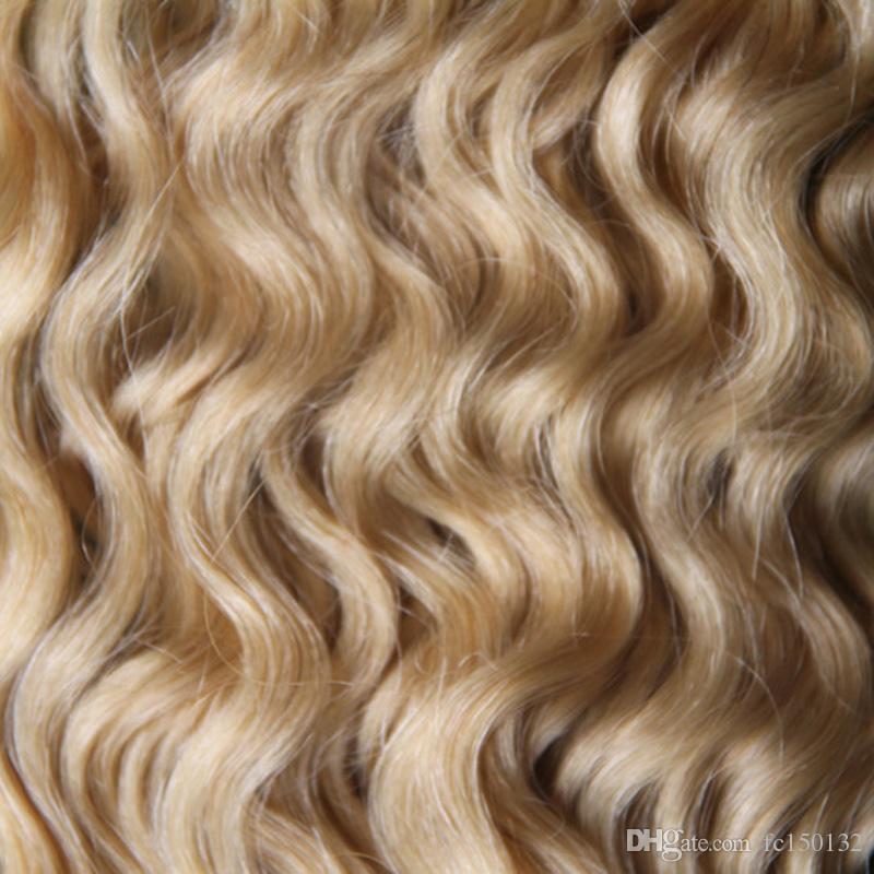 613 Blondes reines Haar Mongolisches verworrenes lockiges Haar I-Tip Haarverlängerungen 100 g / Strähnen vorgebundene lockige Haarverlängerungen
