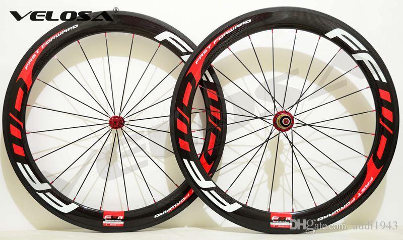 Basalt brake surface!!FFWD wheels F6R 60mm wheelset straight pull Powerway R36 carbon hubs full carbon road bicycle bike wheels black red