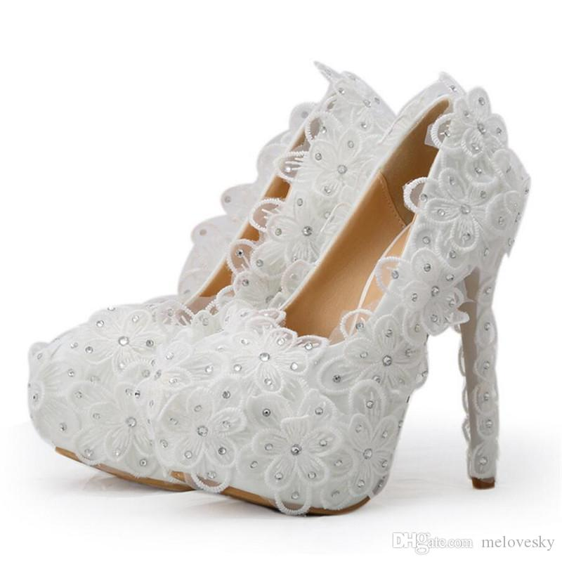 dc07adf76e24 New Handmade Fashion Round Toe Shoes For Women White Lace Flowers High Heel  Wedding Shoes Bridesmaid Super Party Heels Bride Shoes Cheap Shoes Dansko  Shoes ...