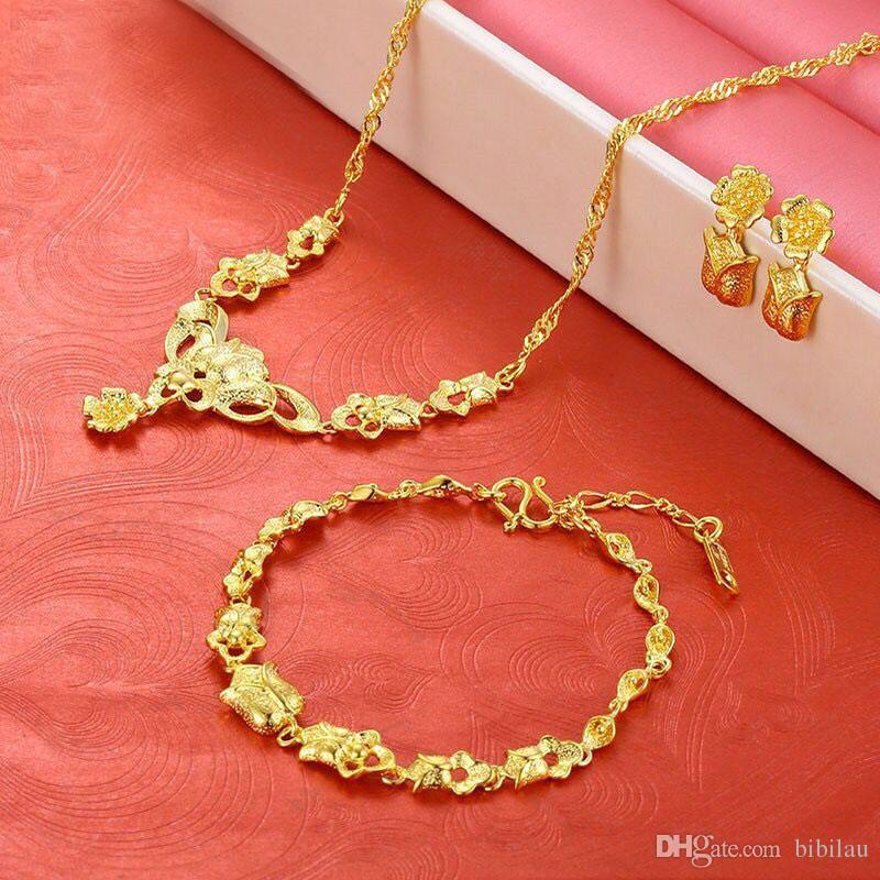 65ab03cf0583 Compre 221S Joyería De La Boda Conjunto Colgante Collar Pulsera Pendiente  Para Nupcial 24 K Chapado En Oro Rosa Flor A  6.15 Del Bibilau