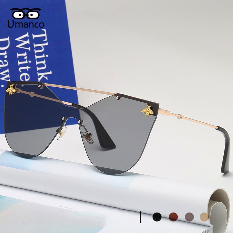 Compre Umanco 2018 Nova Moda Sem Aro Óculos De Sol Das Mulheres Dos Homens  De Ouro Do Vintage Pequena Abelha Óculos De Sol Feminino Colorido Shades  Óculos ... e6c8f0b5c5