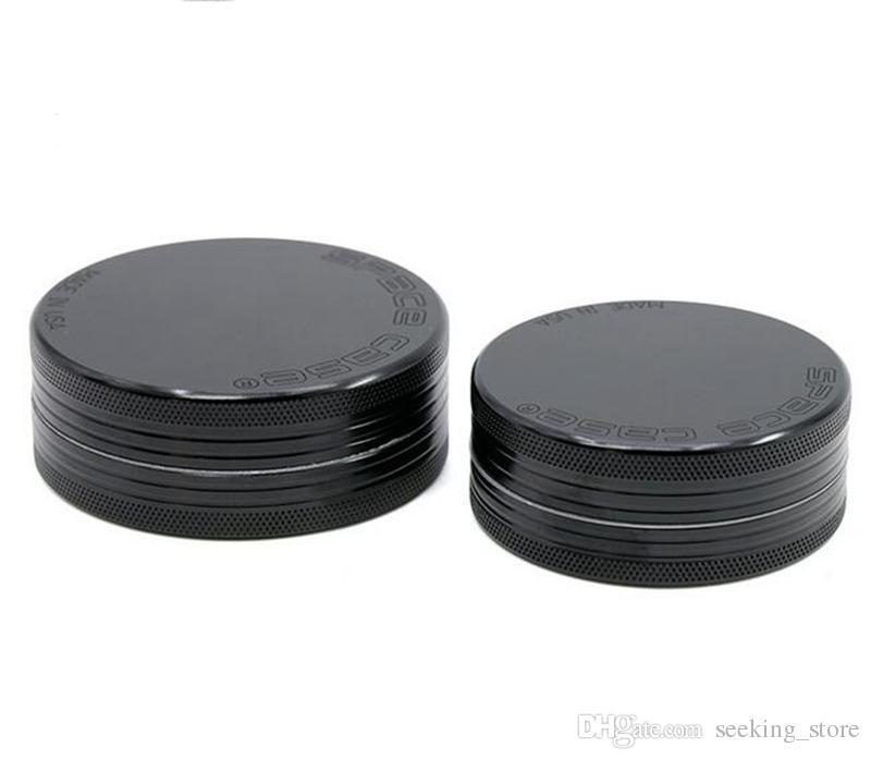 2 Capas Space Case Tobacco Herb Grinder Metal Grinders 55mm 63mm Aleación de aluminio Herbal Grinder Black SPACE Grinders Free Fedex LV550-630-2