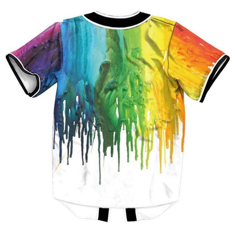 Wholesale Color Painting Floyd Baseball Jerseys 3D Men Casual Slim Fit Tee Shirt Homme Short Sleeve V Neck T-shirt