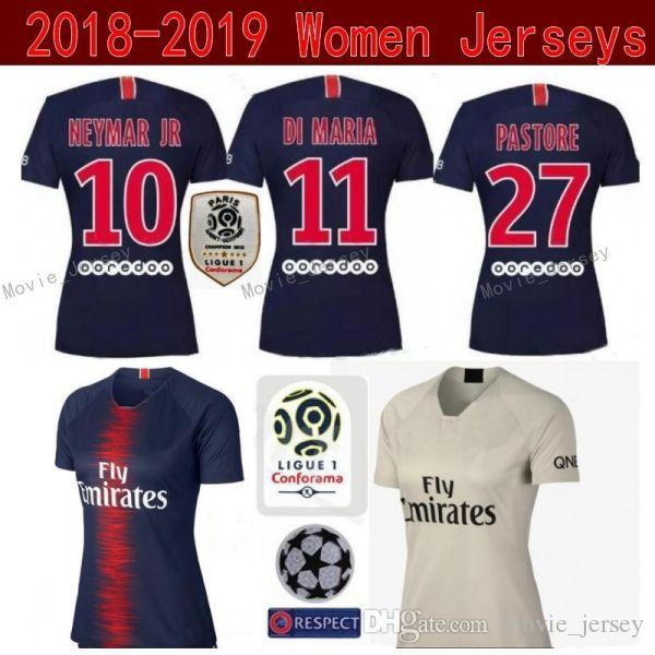 f9fbf17c83 PSG Women MBAPPE Jersey Ligue 1 Paris Saint Germain FC Lady Soccer Blue  CAVANI DI MARIA SILVA VERRATTI Football Shirt Kits Uniform Woman