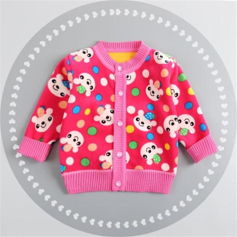 Cola New Casual Baby Sweater Boys Girls Autumn Plus Thick Velvet