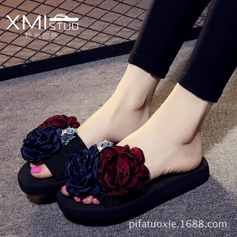 XMISTUO Brand 2017 Casual Flower Female Pantufas Designer Slippers Elegant Women Sandals Beach Clogs Girl Sandles Rihanna Shoes