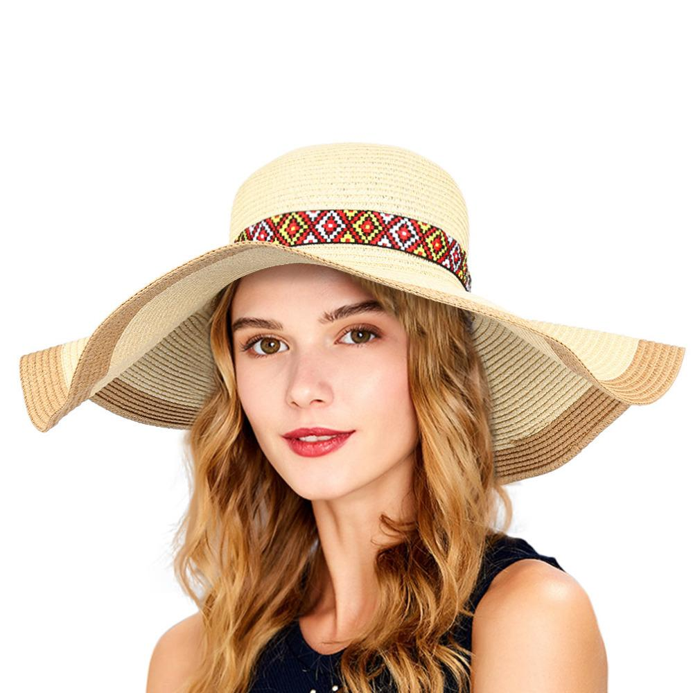 Vbiger Summer Women Straw Sun Hat Foldable Wide Brim Hat Floppy Portable  Beach Straw Outdoor Cap Men Hats Baby Sun Hat From Amoywatches b9c45700afa7