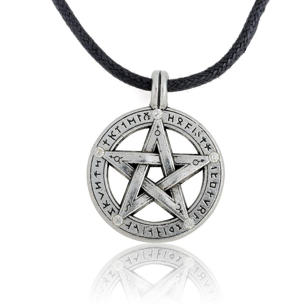 amulet emerald rope shape my supernatural men pendant pentacle chain witch wholesale star protection leather pentagram necklace product