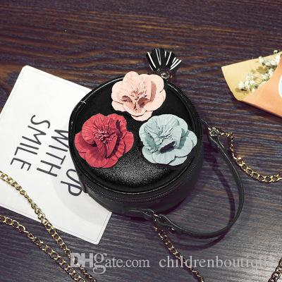 Kids Purses Girls Mini Bag Korean Style Baby Girls Floral Round Cross-body Bag Fashion Leisure PU Chain Handbags