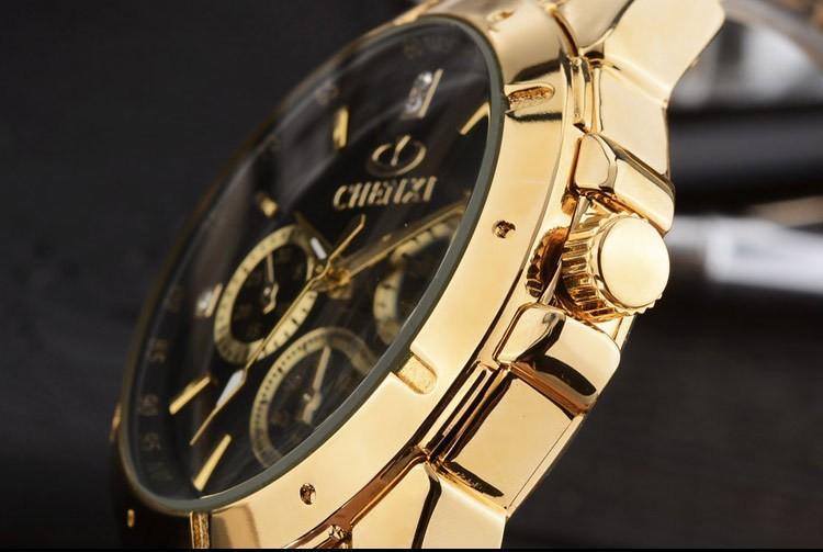 CHENXI Любители Кварцевые Часы Женщины Мужчины Золотые Наручные Часы Лучший Бренд Женский Мужской Водонепроницаемый Часы IPG Золотые Стальные Часы
