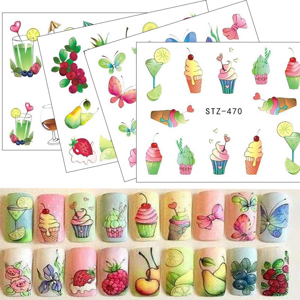 e916cb4e6b91f Stickers Water Nail Sticker Water Tattoos Summer Ice Cream/Drink/Fruit/ Flower/Butterfly DIY Decals For Nail Art Cool Decor STZ470 488 3d Nail Art  Nail ...