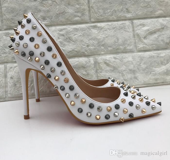 625ae572618 2018 Brand Shoes Women Pumps High Heel Shoes Rivet Pointed Toe Fine Heel  Lady Wedding Shoes Bottom For The Fashion Party +Logo+Box Mens Shoes Online  Mens ...