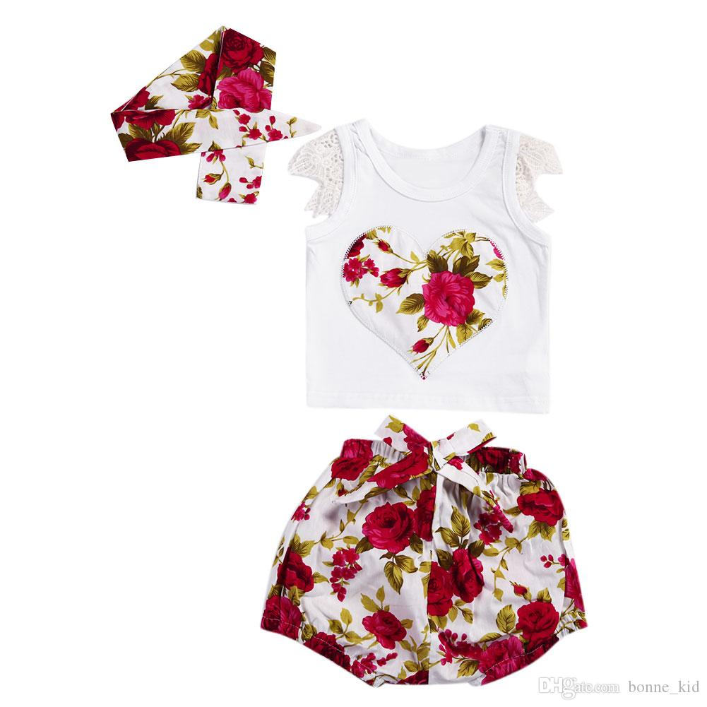 490868931 Newborn baby Girls Summer Red Floral Clothing Outfit Vest+Shorts+Headband  3-piece set Kids Girls Clothes Flower Boutique Costume
