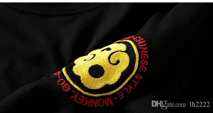 Sommer japanische Flut Marke Monkey Affe Stickerei Baumwolle Plus Dünger erhöhen halbe Hülsen Harajuku Style Herren T-Shirt Kurzarm