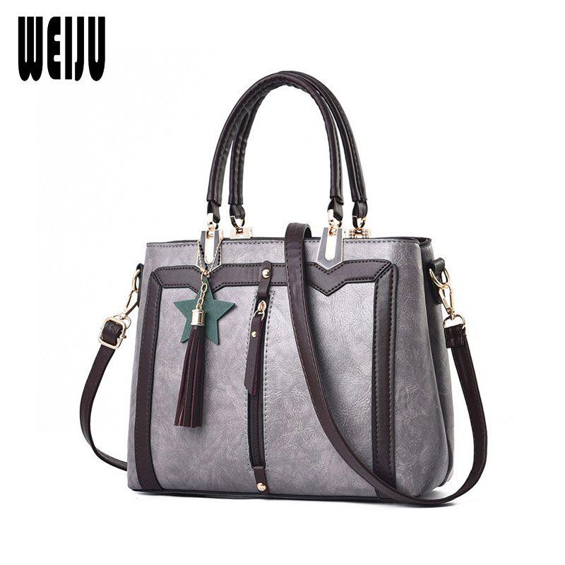 76c142254b1e WEIJU Women PU Leather Handbags with Tassel Female Patchwork ...