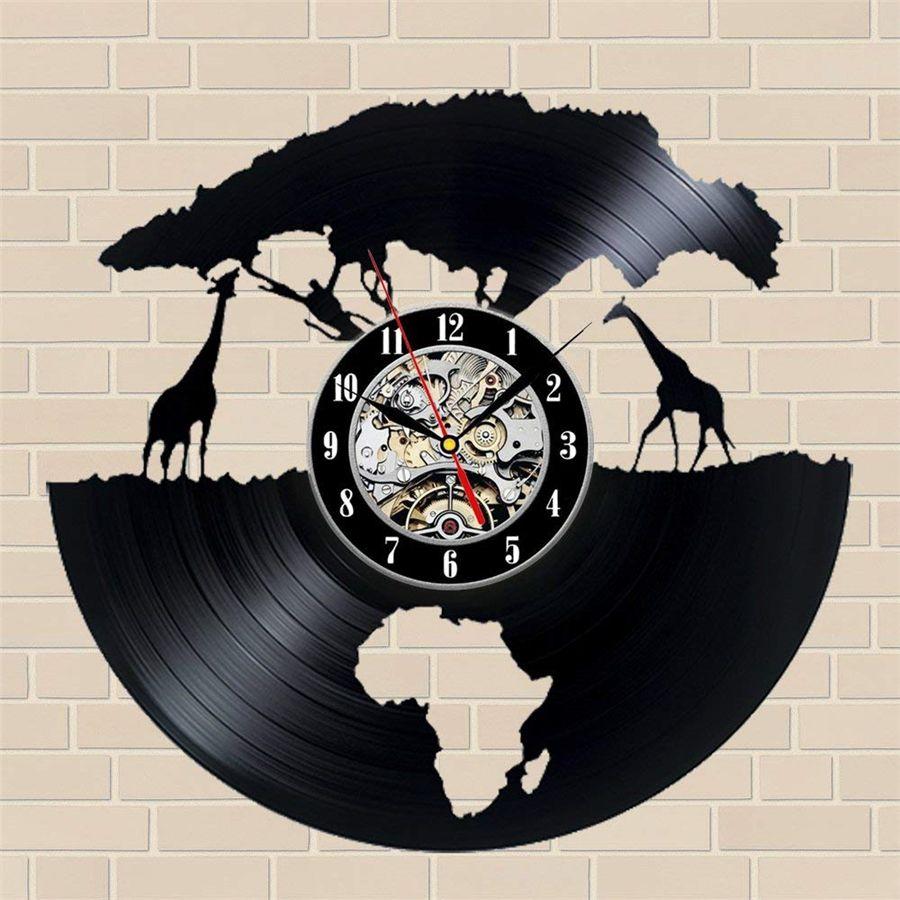Compre animales africanos reloj de pared de vinilo decoraci n del hogar moderno arte de la pared Relojes de decoracion