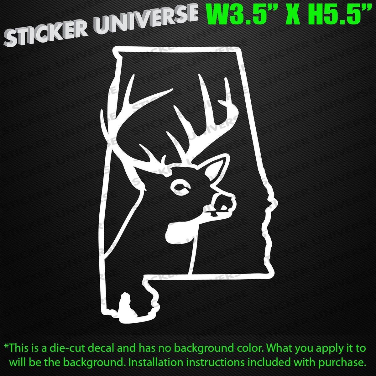 Car styling for alabama deer head die cut decal bumper sticker 3 5x5 5 bow hunting buck antler