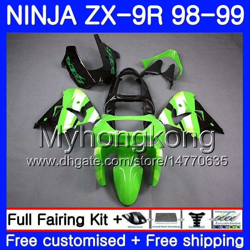 Body For KAWASAKI NINJA ZX 9 R ZX900 ZX9 R ZX9R 98 99 00 220HM.35 ZX 900 900CC ZX 9R 98 99 ZX-9R 1998 1999 2000 hot Green black Fairing kit
