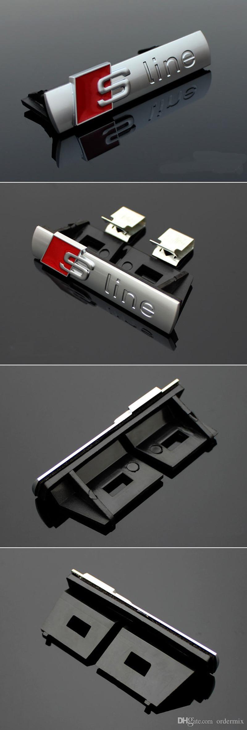 S Linha Sline Grade dianteira do emblema do emblema etiqueta cromado plástico ABS -Front grelha para montar Audi S3 S4 S5 S6 S8 A1 A3 A4 A5 A6 A7