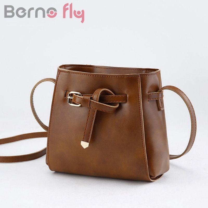 Berno Fly Women Handbag Vintage Messenger Bag Mini Bow Tie Bucket Shoulder  Bags Pu Leather Female Crossbody Bags Bolsas Feminina Designer Handbags  School ... 2cc47347c6c36