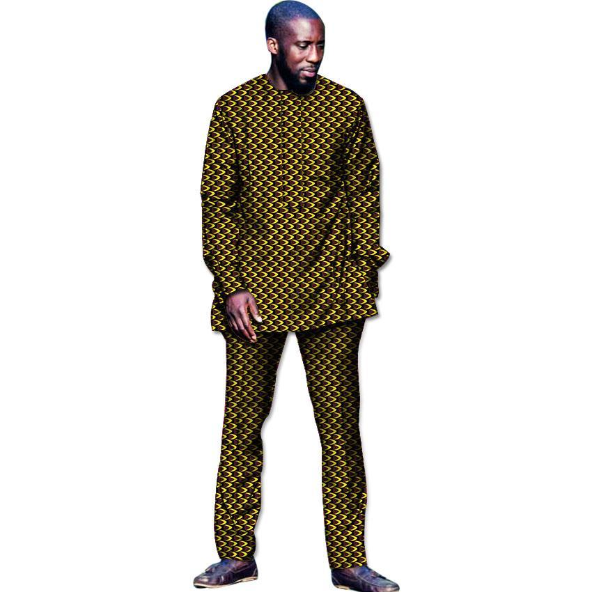 1d02d64e0 Hombre vestido de moda africana de los hombres de la camiseta y conjuntos  de pantalón Tops conjunto de pantalones ropa impresa traje festivo hombres  ...