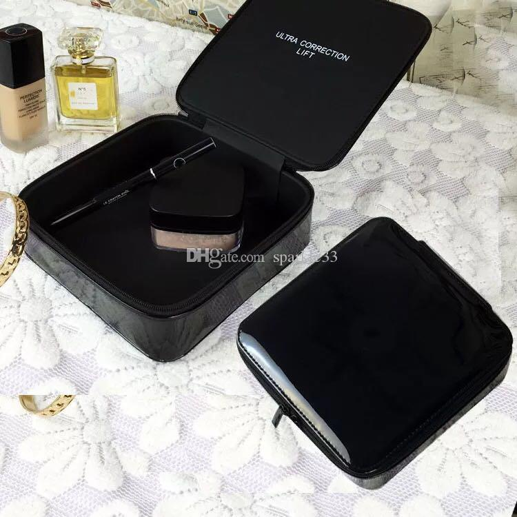 CC Square PU leather lacquer leather cosmetic bag Storage box beautiful big brand gift waterproof large Makeup capacity box VIP gift