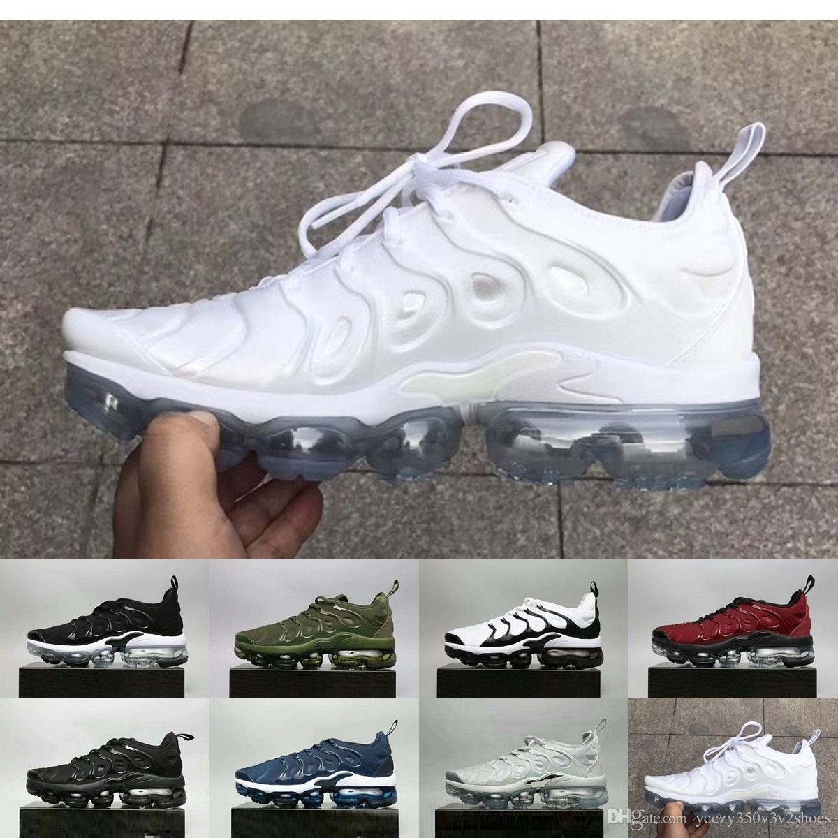 separation shoes c6888 91e89 Compre 90 95 97 270 Los Más Nuevos TN Plus Running Shoes 2018 Hombres Triple  Negro Oliva Metálico Blanco Plata Deporte Athletic Sneakers Senderismo  Jogging ...