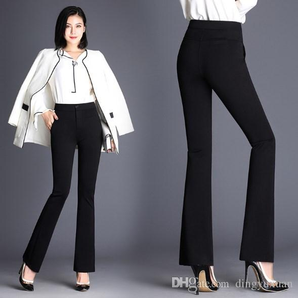 99c0c005269 2019 Spring Autumn Women High Waist Flare Pants Plus Size 4XL OL Suit Pants  Black Blue Western Style Trousers Casual Work Pants Women Bell Bottom From  ...