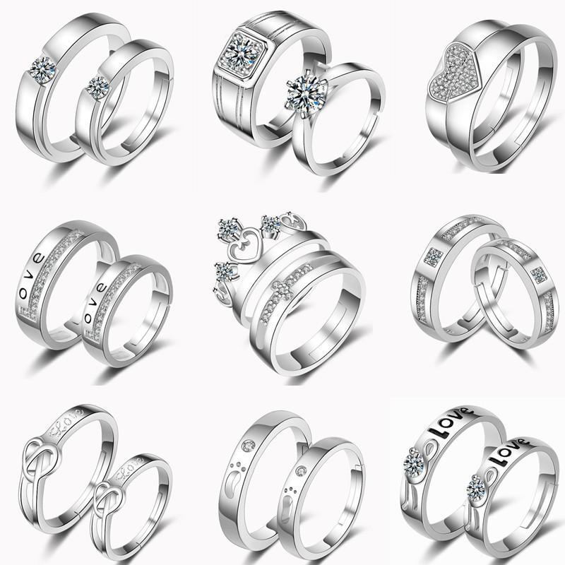 ea14a6b55c Großhandel 32 Designs Paar Ringe Einstellbare 2 Teil / Satz Liebhaber Ringe  925 Silber Feder Herz Krone Kreuz Zirkonia Ringe Von Jmyy, $3.47 Auf  De.Dhgate.