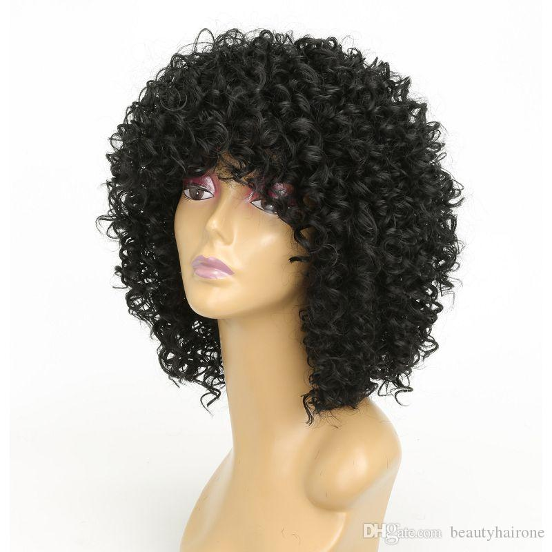 Colorful Synthetic Non Lace Wigs Machine Made for Women with Bangs Kinky Curly Short Hair High Temperature Silk Pink Burgundy Black