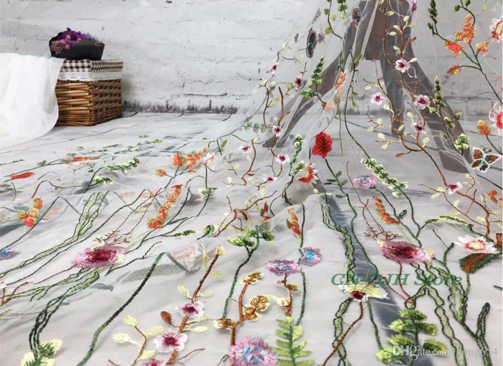 80bd12d8ace 5y одежда швейная ткань чистая пряжа 3D вышивка шифон цветок кружева ткань  сетка материал DIY платье одежда аксессуары