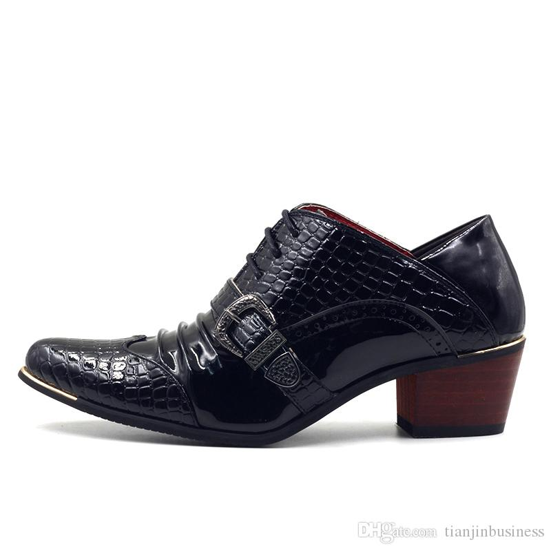 Luxury Men Formal Shoes High Heels Business Dress Shoes Male Oxfords Pointed Toe Oxford Shoe For Men Wedding Leather Shoe