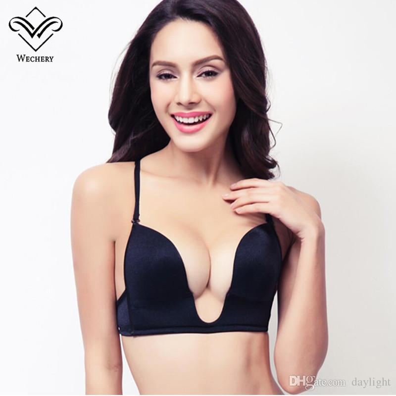 066086e7cdd 2019 Wechery New Deep Plunge U Push Up Bra Sexy Seamless Adjustable  Convertible Straps Sutian Bra Backless Brassiere Plunge Bralet BH From  Daylight