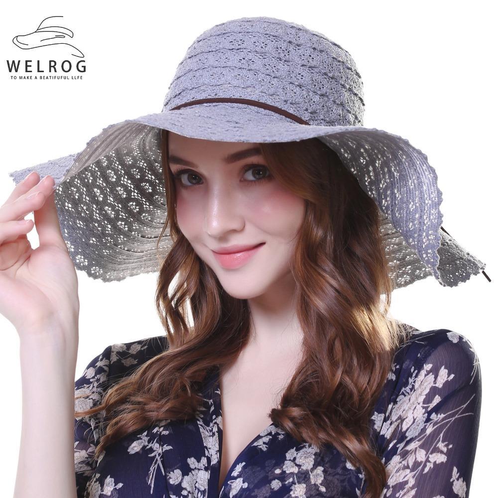 Compre Welrow Sombrero De Paja Para Las Mujeres Verano Casual De Ala Ancha Sombrero  Para El Sol Con Nudo De Proa Sombreros De Playa Para Las Vacaciones ... 0ac38d1073e