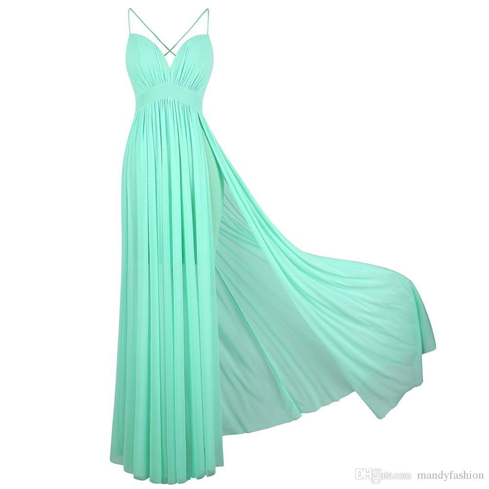 7e46405295852 Satın Al Melek Modası Kadın Spagetti Kayışı V Yaka Dantelli Çizim Akşam  Balo Elbisesi Parti Elbise Nane Yeşil 406, $39.3 | DHgate.Com'da