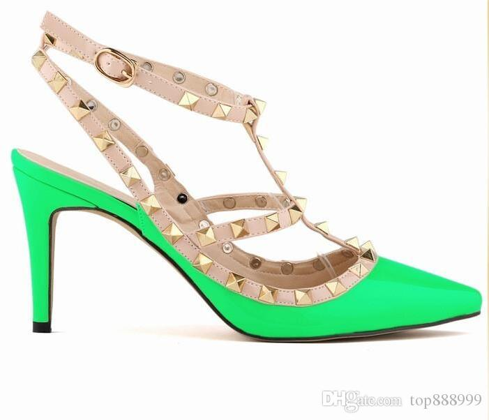 bcc27ca950f 2018 Designer women high heels party fashion rivets girls sexy pointed  shoes Dance shoes wedding shoes Double straps sandals
