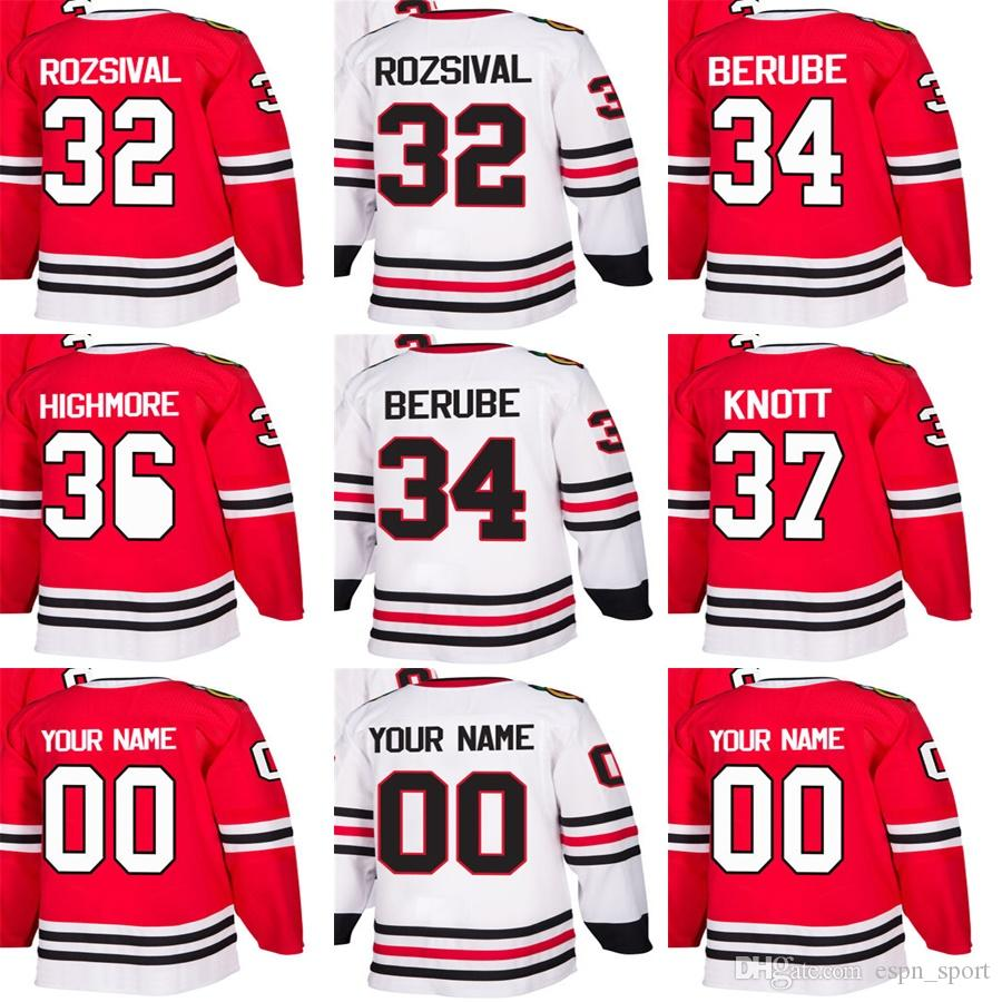 watch 3f118 be5a8 Cheap Mens Womens Kids Chicago Blackhawks 32 Michal Rozsival 34  Jean-Francois Berube 36 Matthew Highmore 37 Graham Knott Ice Hockey Jerseys