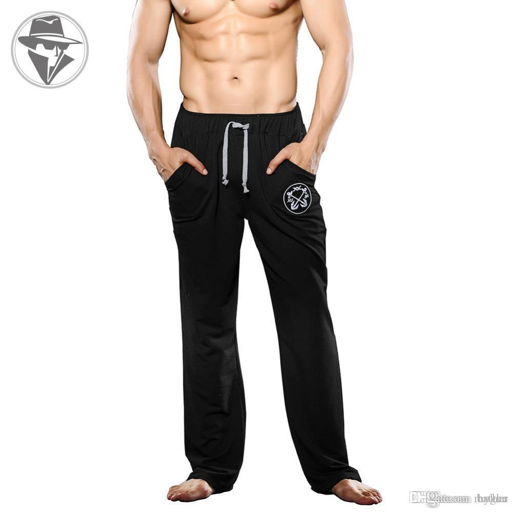 3d599ed6777f Wholesale-New Men s Cotton Performance Lounge Pants Fashion Fitness ...