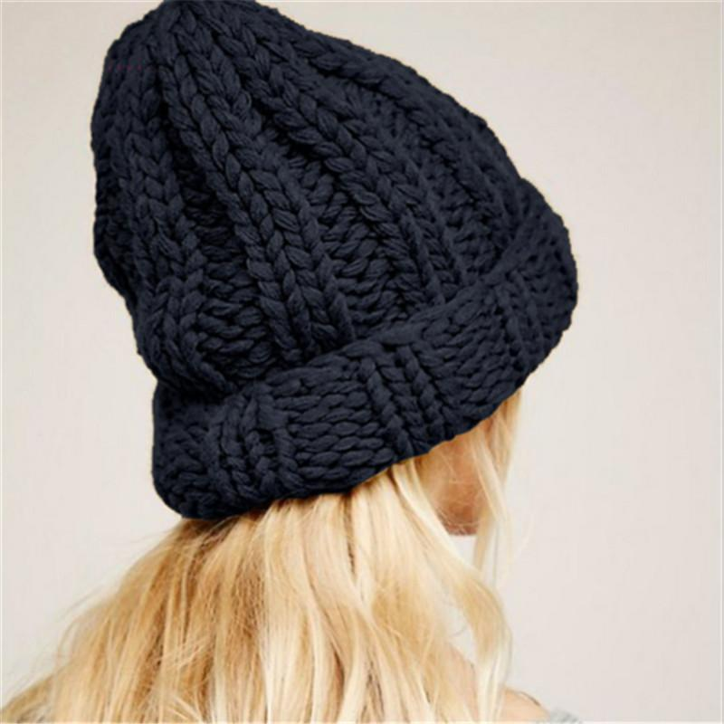 2017 New Fashion Knitting Wool Caps Woman solid warm winter Crochet Beanie hats Y18110503