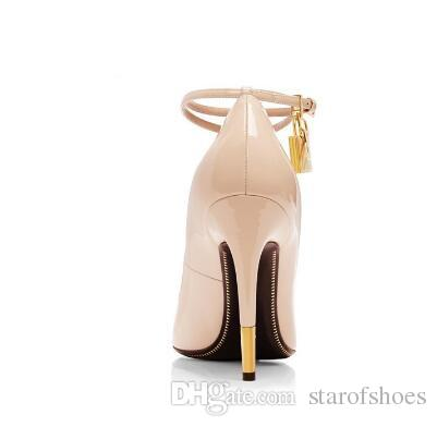 2018 Nude White Patent Leather High Heels Shoes Metal Padlock Women Dress Shoes Sexy Pointed Toe Buckle Strap Women Pumps