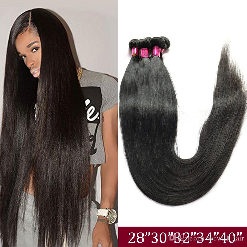 Brazilian Virgin Straight Human Hair Weave Bundles Unprocessed Remy