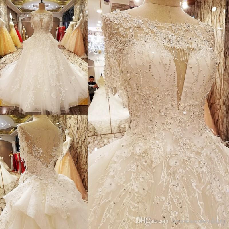 Ls7080 Princess Style Wedding Dress Beading Crystal Ball Gown O Neck ...