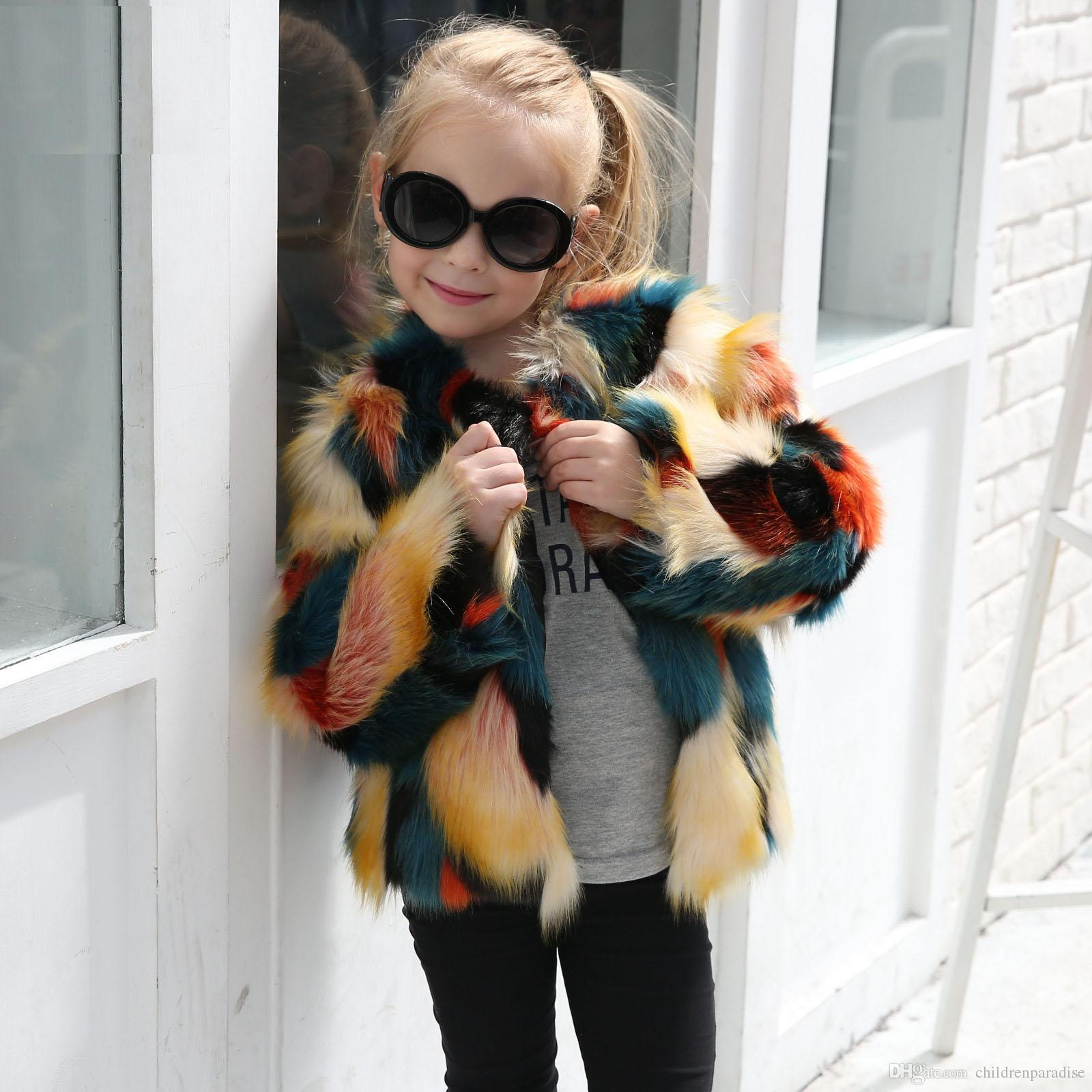 70b99aa0e Fashion Kids Baby Girls Autumn Winter Multicolor Faux Fur Coat ...